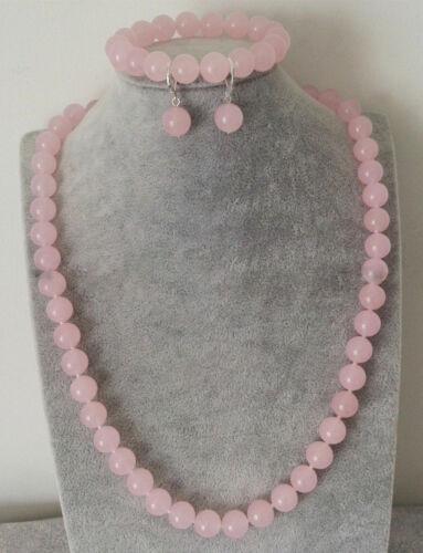 Fashion 8//10//12mm Naturel Rose Jade Perles Collier Bracelet Boucles d/'oreilles Set