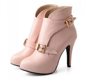 botas zapatos rosa tacón de aguja talón 10 cm como piel cómodo 9148