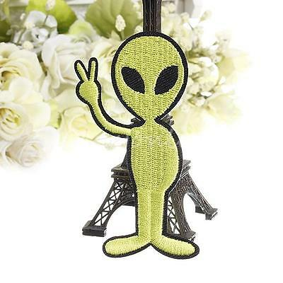 Green UFO Space Peace Alien Patch Embroidered Fabric Sew Cloth Applique Badge