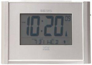 NEW Seiko QHR015SLH Get Up and Glow Atomic Alarm Clock Silver Luminious Wave