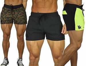 Men's BODYBUILDING RUNNING SHORTS GYM TRAINING POCKETS WITH ZIPPER ...
