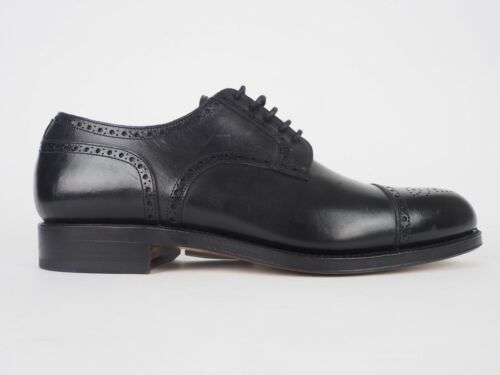 Mens Hackett London Semi Brogue HMS20111 Black Handmade Leather Formal Shoes
