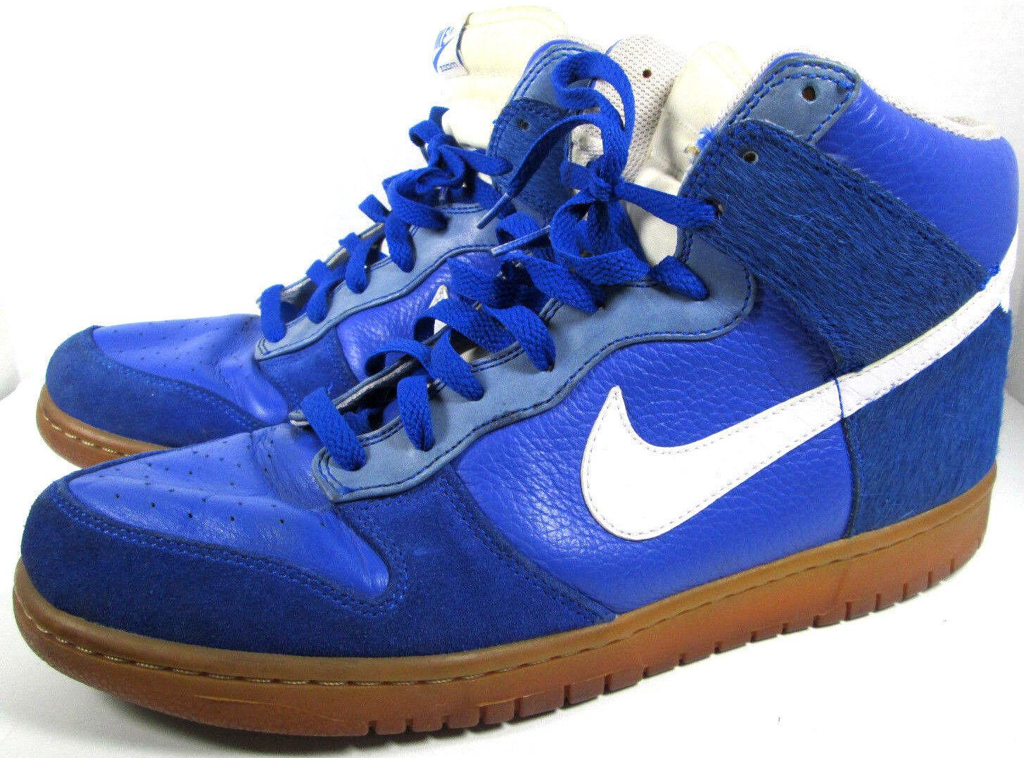 Nike Zoom Dunk Premium Horsehair Gum Soles bluee White Basketball Hightops Sz 12