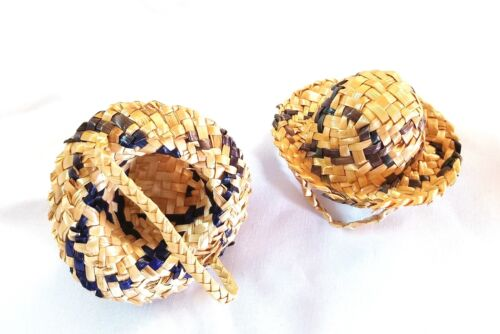 Vintage Small Doll Straw Hat Navy Blue  3 inches
