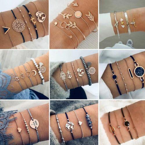 Conjunto de pulsera para mujer Vintage multicapa Bohemio pulsera con dijes corazón LOTUS Shell