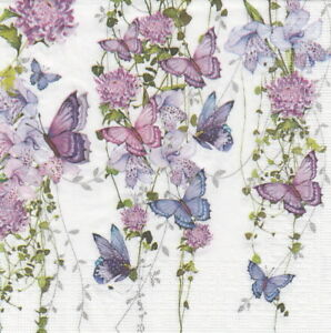 4x-Paper-Napkins-for-Decoupage-Craft-Nigel-Quiney-Butterfly-Splash