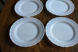 4-Vintage-Mac-Beth-Evans-OXFORD-Opalescent-White-Dinner-Luncheon-plates-9-1-4