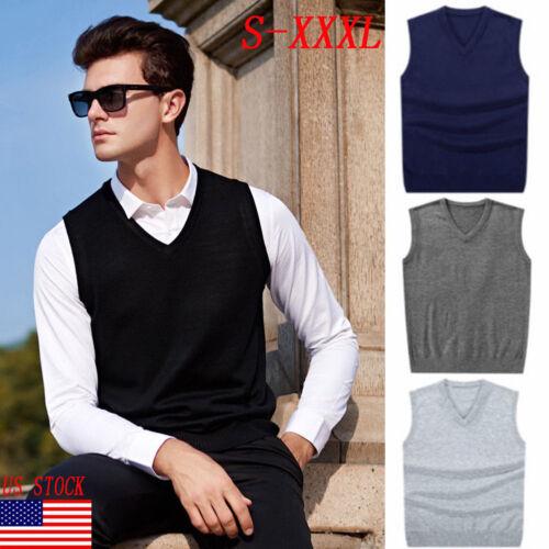 US Mens Sweater handsome Knitted Vest V Neck Pullover Shirt Wear outside S--XXXL