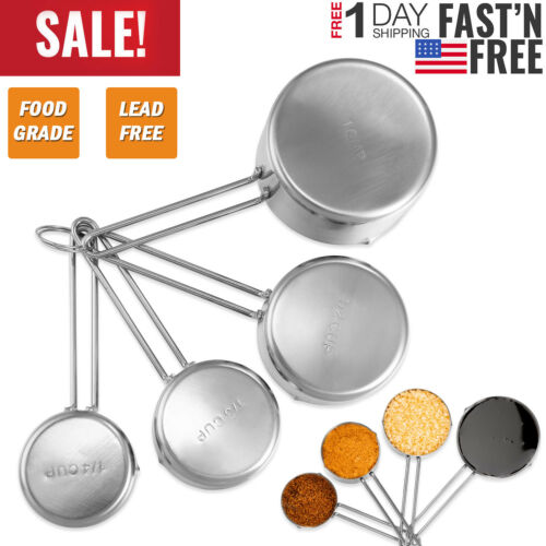 4 Pcs/set Durable Stainless Steel Measuring Cups Spoons Set Kitchen Baking Tools