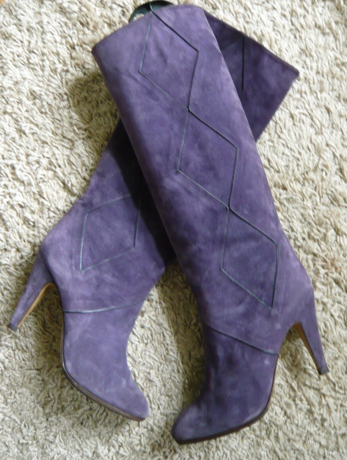 Original italiano vintage botas Ferdin lila oscuro visualmente