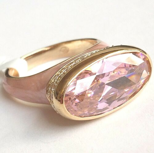 Details about  /Sterling Silver Gold Art Deco Cocktail Ring Size 9 10 Statement Pink CZ Vintage
