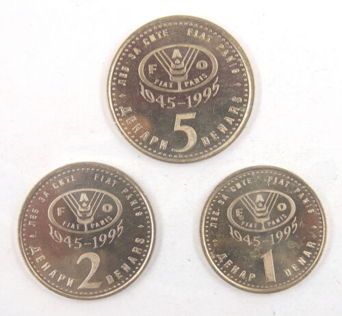 Macedonia F.A.O Coins Set of 3 Pieces 1995 UNC