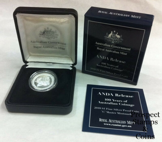 2010 -100 years of Australian Coinage- $1 Silver Proof- ANDA-'C' Master Mintmark