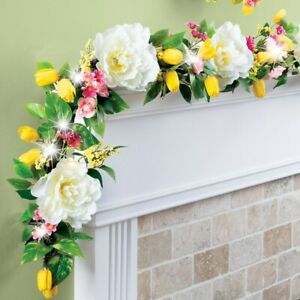 5 Foot LED Lighted White Peonies and Yellow Tulips Spring Home Railing Garland