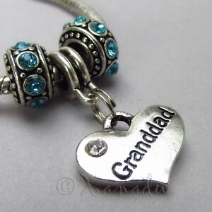 0bc1a37ab66f3 Details about Granddad European Charm Pendant And Birthstone Beads For  Large Hole Bracelets