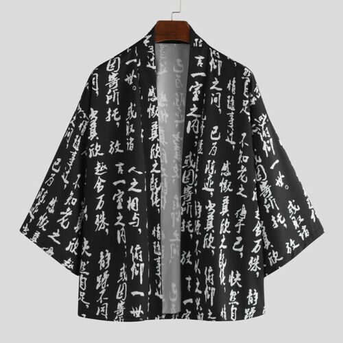 Vintage Men Japanese Casual Loose Kimono Yukata Coat Cardigan Jacket Outwear Top