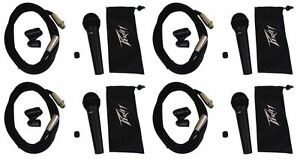 4-Peavey-PVI-100XLR-Dynamic-Cardioid-Vocal-Microphones-Case-Mic-Clips-Cables