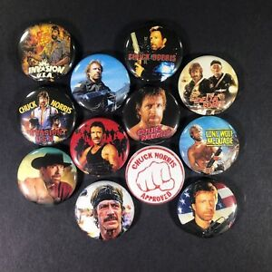 Chuck-Norris-1-034-Button-Pin-Set-Action-Movie-Star-Karate-Kung-Fu-Walker-Texas