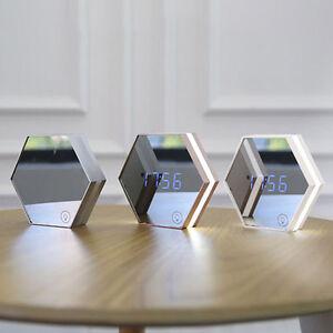 led digital wecker uhr tischuhr alarm spiegel touch sensor. Black Bedroom Furniture Sets. Home Design Ideas