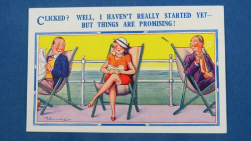 Risque Reg Maurice Comic Postcard 1930s Silk Stockings Boobs Pier Deck Chair