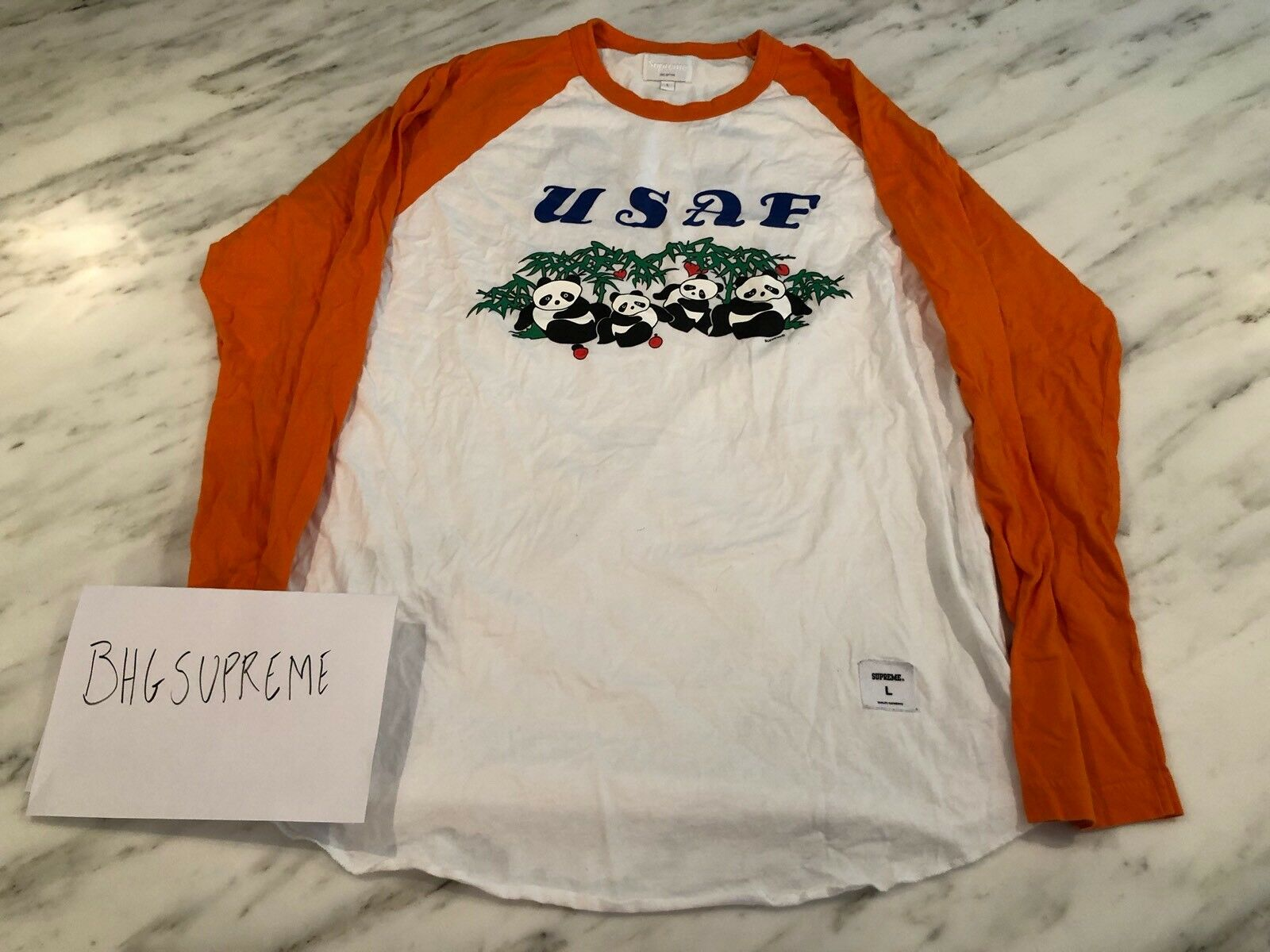 Supreme Usaf Panda Basball Tshirt Shirt Graphic orange 44 New York Nyc