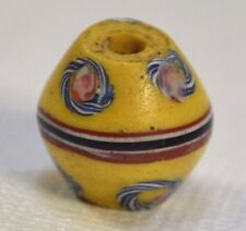 Antique Yellow Venetian Trail Decorated Bicone Glass King Bead, African Trade