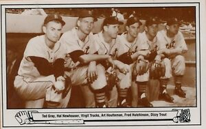 1983-TCMA-Postcard-16-1948-Tigers-Pitching-Staff-Picture-Stock-3073