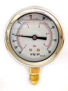 Compound-Pressure-Vacuum-Gauge-Glycerine-Filled-63mm-1-4-Bar-amp-30-Hg-60-PSI