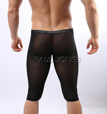 Men's sexy Exercise sheer see through mesh brief underwear Shorts Pants Briefs