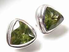 Natural Faceted Peridot Triangle 925 Sterling Silver Stud Earrings New