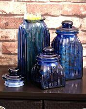 3 Dark Blue Glass Jar Canister Kitchen Food Storage Dry Sugar Salt Coffee Vintag