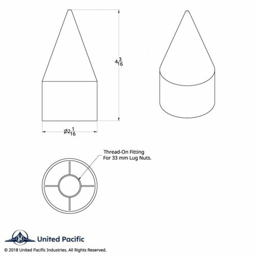 """33mm x 4 1//8/"""" Spike Nut Cover Thread-On 60 Pack"""