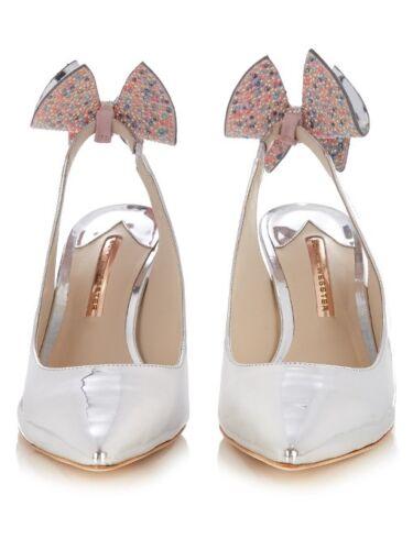 Size Slingback Edie Metallic Bow Shoes Silver 7 Webster £525 Sophia Bnib UqwzPX