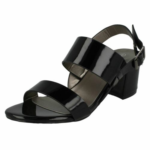 Ladies Black Patent Anne Michelle Strappy Open Toe Blocked Heeld Sandals F10732