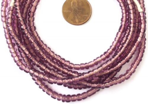Vintage Opaque Transparent Amethyst African glass beads Ghana Trade Beads