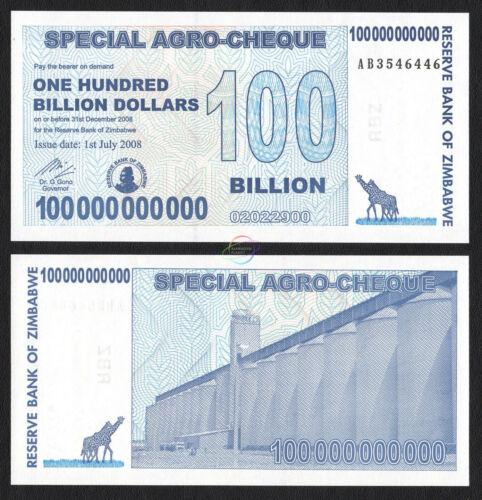 ZIMBABWE 5 25 50 100 Billion Dollars Agro-Cheque Set 4 PCS 2008 P61 62 63 64 UNC