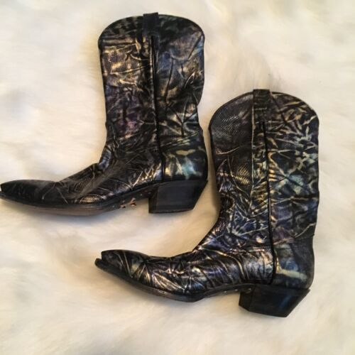 Tony Lama Cowboy Boots 7.5 Metallic Electric Color