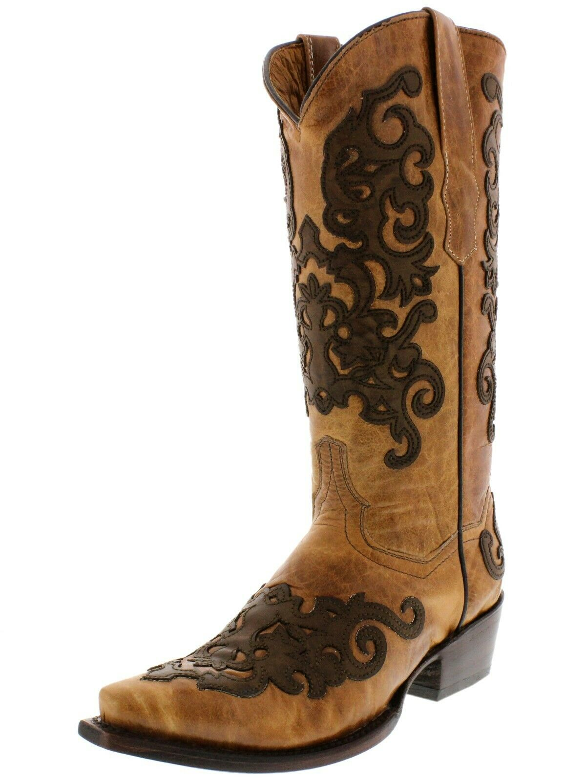 Womens Womens Womens Light Brown Real Leather Western Cowgirl Boots Brown Overlay Snip 6a9181