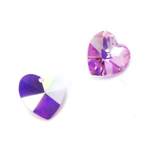 7f1cee42e0687 Details about 4 Swarovski 6202 Crystal Heart Pendant 14mm LIGHT AMETHYST AB  *Clearance Sale*