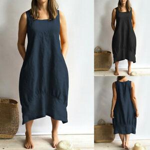Plus-Size-Women-Lagenlook-Quirky-Balloon-Shaped-Boho-Summer-Cotton-Linen-Dress-L
