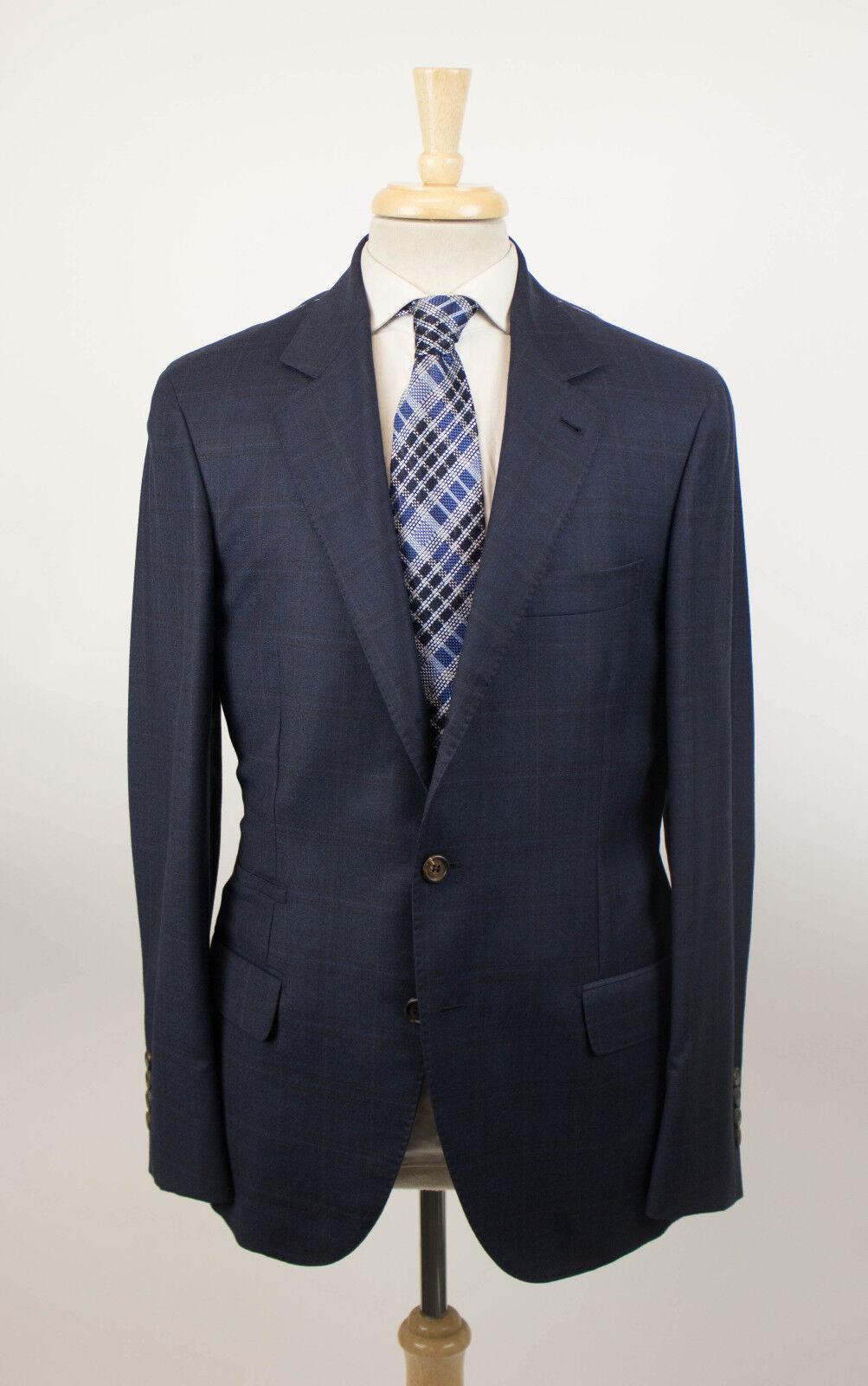 New BRUNELLO CUCINELLI Blau Windowpane Wool 3/2 Button Sport Coat 48/38 R 3960