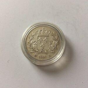 Tres-belle-piece-RARE-en-argent-de-2-F-Louis-XVIII-1816-A