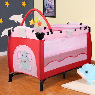 Pink Baby Crib Playpen Playard Pack Travel Infant Bassinet Bed Foldable