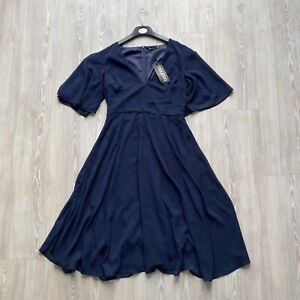 Boohoo Navy Blue Skater Dress Short Sleeve Floaty Angel Sleeve - Size UK 10 BNWT