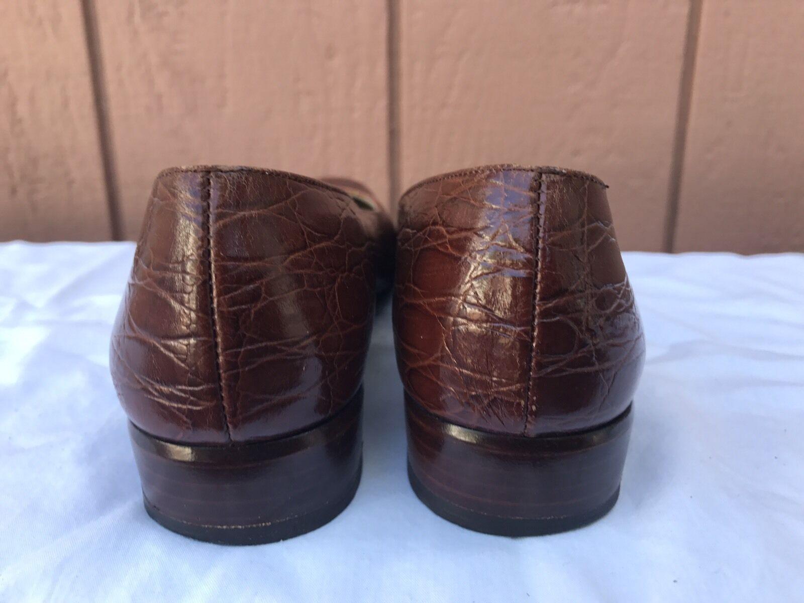 EUC Salvatore Ferragamo Ferragamo Ferragamo Women's Pumps Brown Leather Square Toe US 7.5 4A 032261