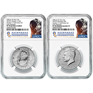 Half Dollar 2pc Set NGC PF70 ASF ER Label 2019-S 50c Apollo 11 50th Ann