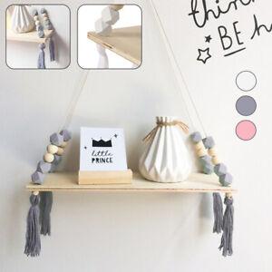Détails sur Étagère murale en bois corde balançoire support stockage bébé  enfants chambre SH