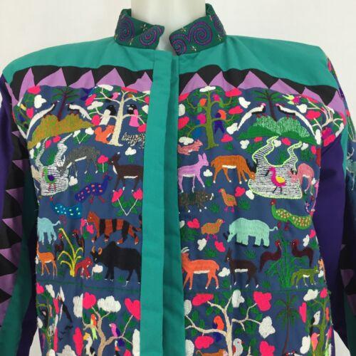 Embroidered Jacket Animals Jungle Forest Safari Bi