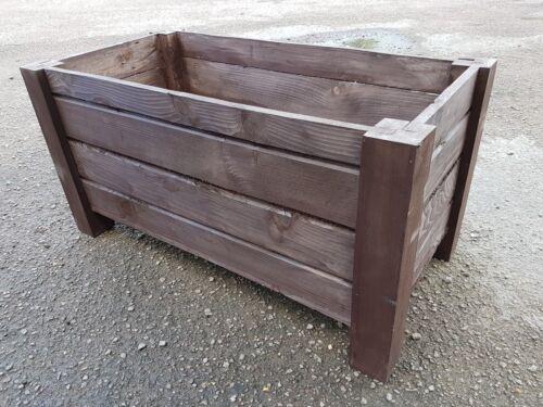 long de 80 cm de bois massif épicéa en couleur rouille En bois grand pot rectangulaire