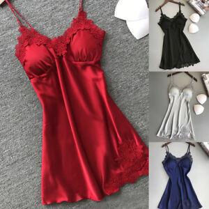 24b5d3228 A imagem está carregando Minivestido-feminino-sexy-Lingerie-Pijamas-De-Seda -Pad-